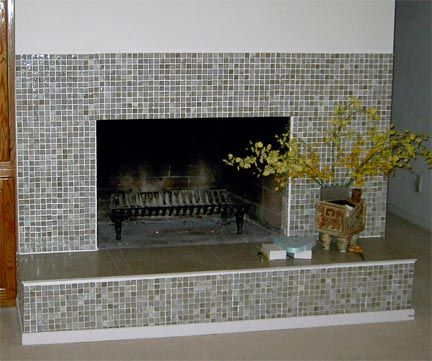 Fireplace Makeover Tile ideas Tiled fireplace and Glass tile