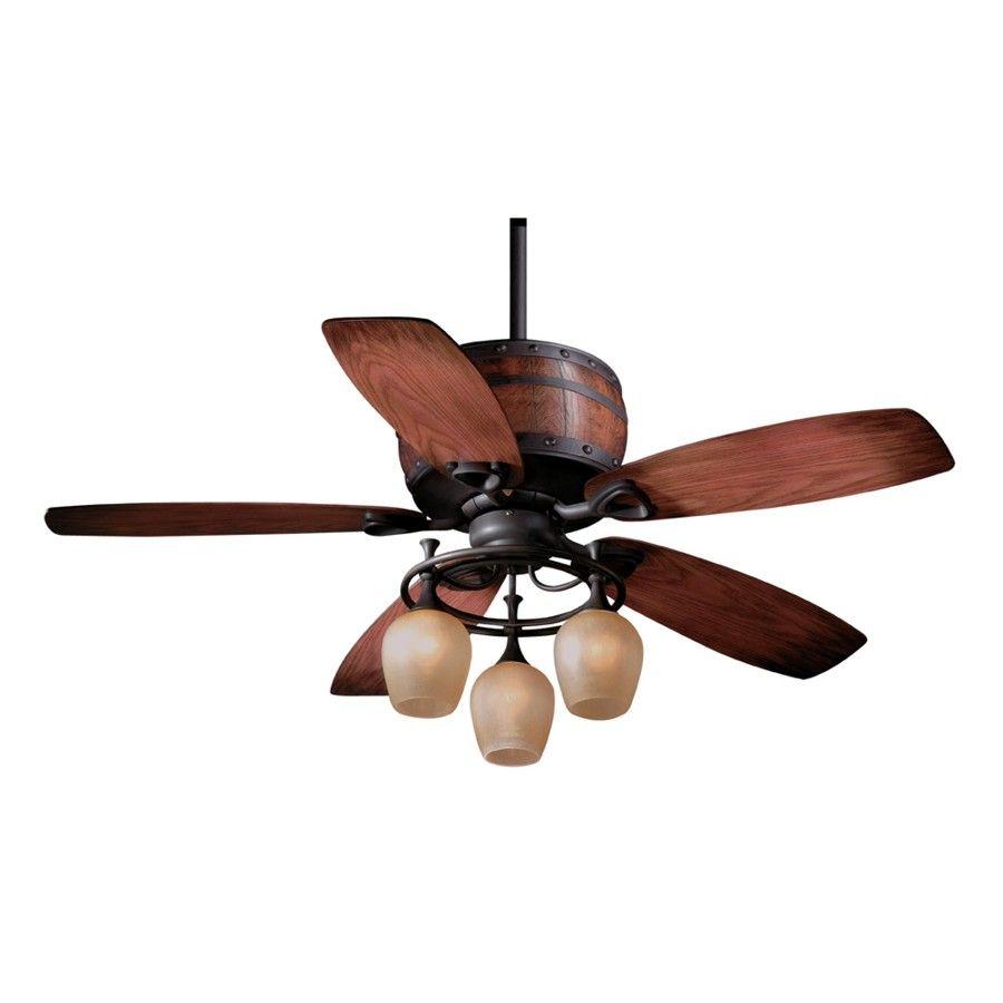 52 inch Wine Barrel Oil Rubbed Bronze Ceiling Fan Light Kit