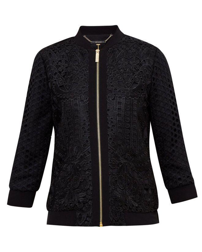 f2dc9a560b70c5 Geo Lace bomber jacket - Black