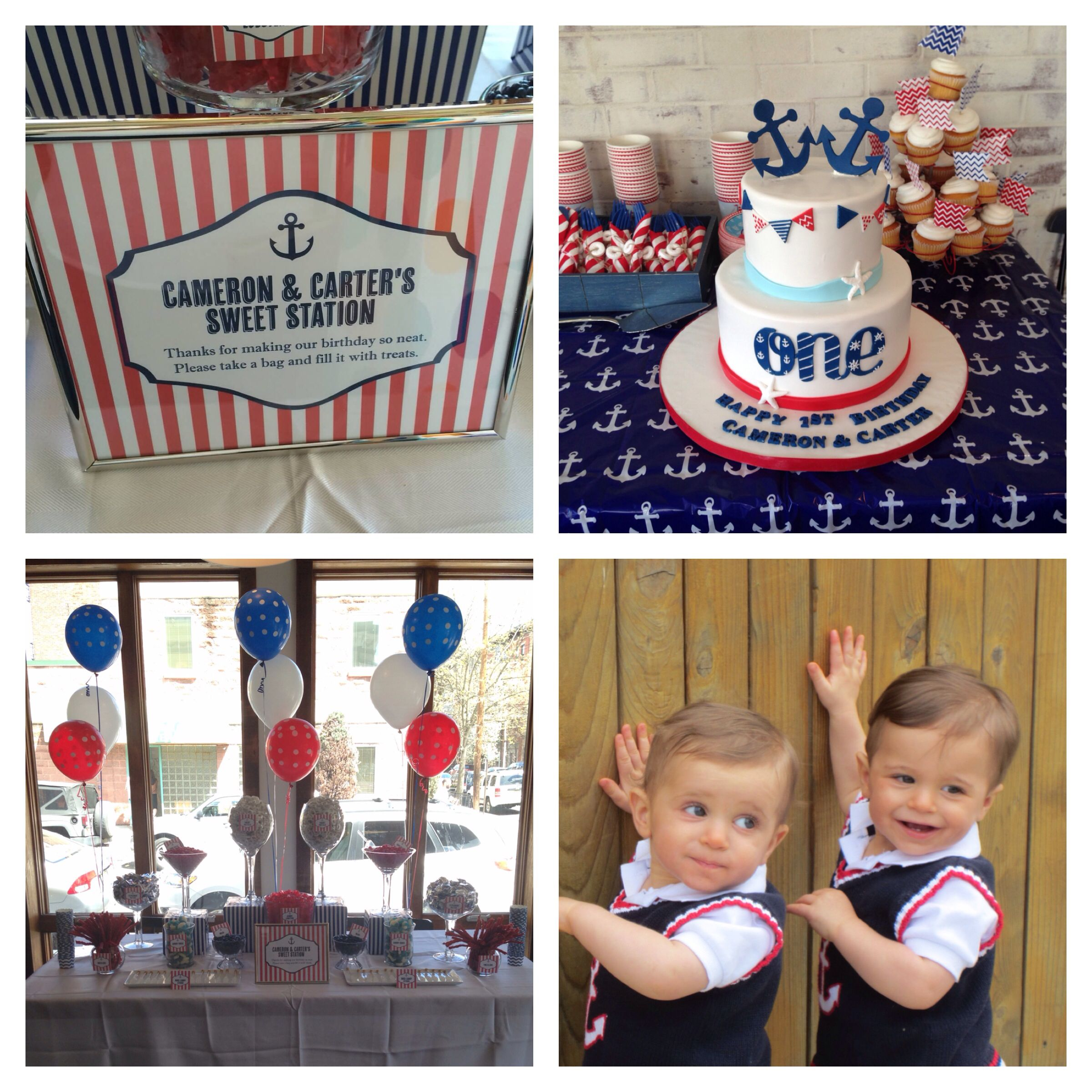 Boy twins first birthday party; nautical, red, white and blue ...