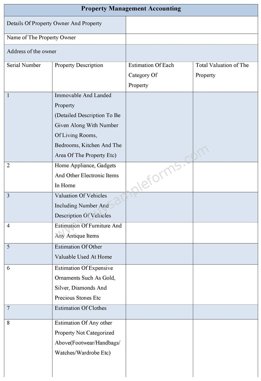 Property Management Accounting Form | Property management and Management