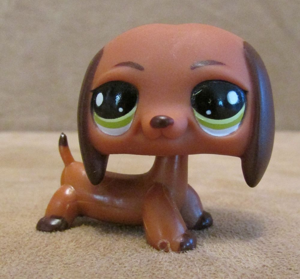 992 Dachshund Brown Dog Littlest Pet Shop Hasbro Lps Green Eyes Hot