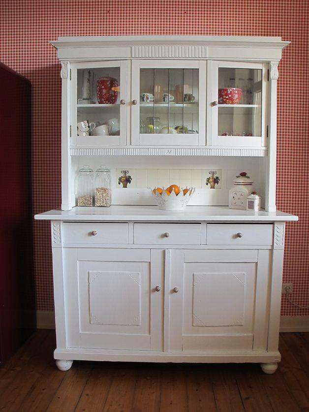 Jugendstil Küchenbuffet/Buffetschrank in Weiß