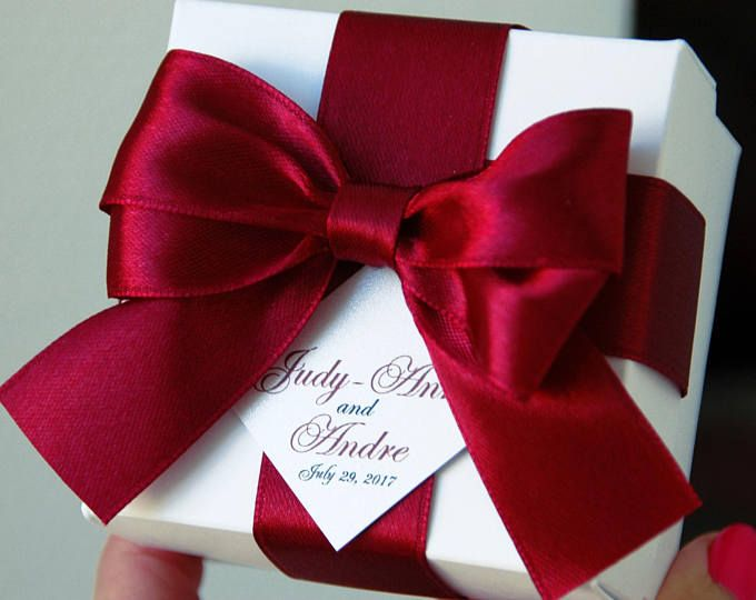 Love Is Sweet Wedding Favor Boxes With Satin Ribbon, Bow