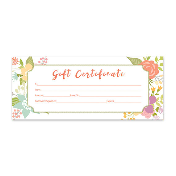 Floral, Gift Certificate Download, Flowers, Premade Gift