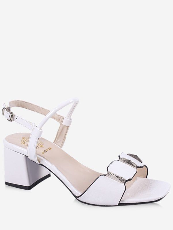 acaddad8efff7a Chunky Heel Casual Party Ankle Wrap Sandals - WHITE 39
