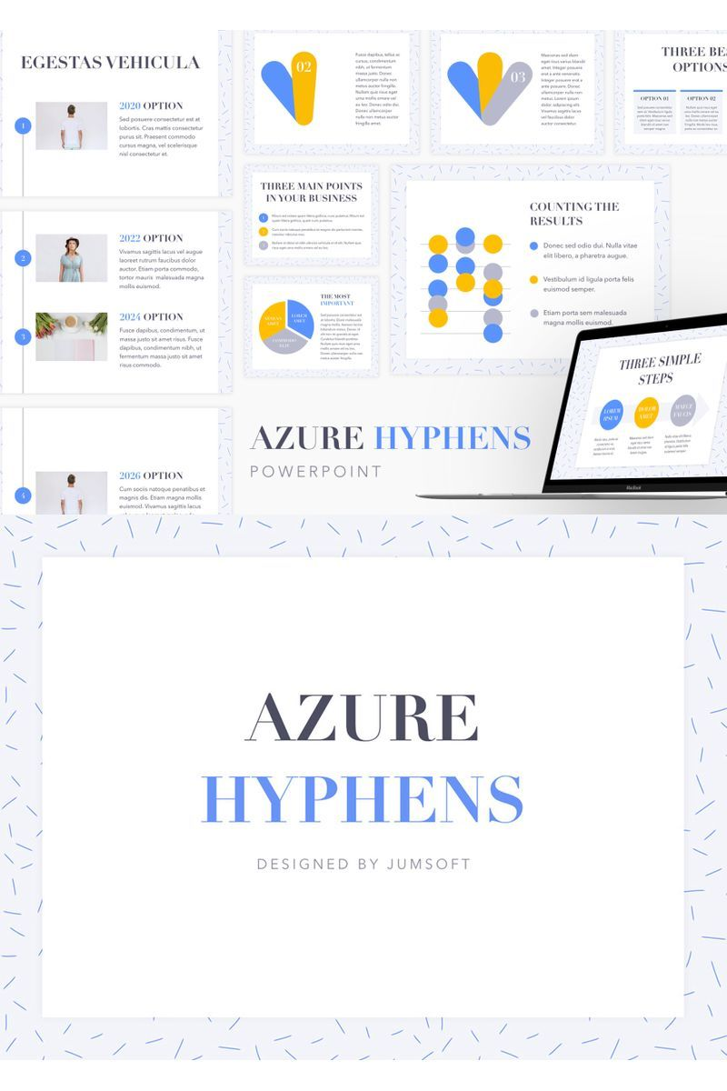 Azure Hyphens PowerPoint Template 95981 in 2020