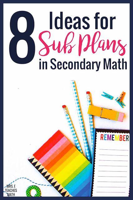 8 Ideas for Sub Plans in Secondary Math | Substitute teacher, Math ...