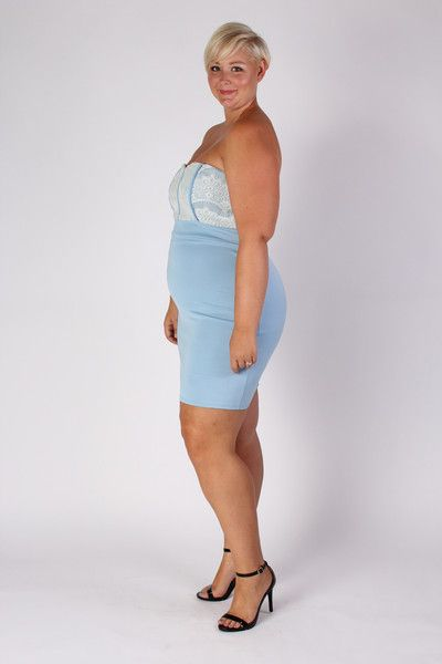 Plus Size Clothing For Women Strapless Fitted Dress Light Blue