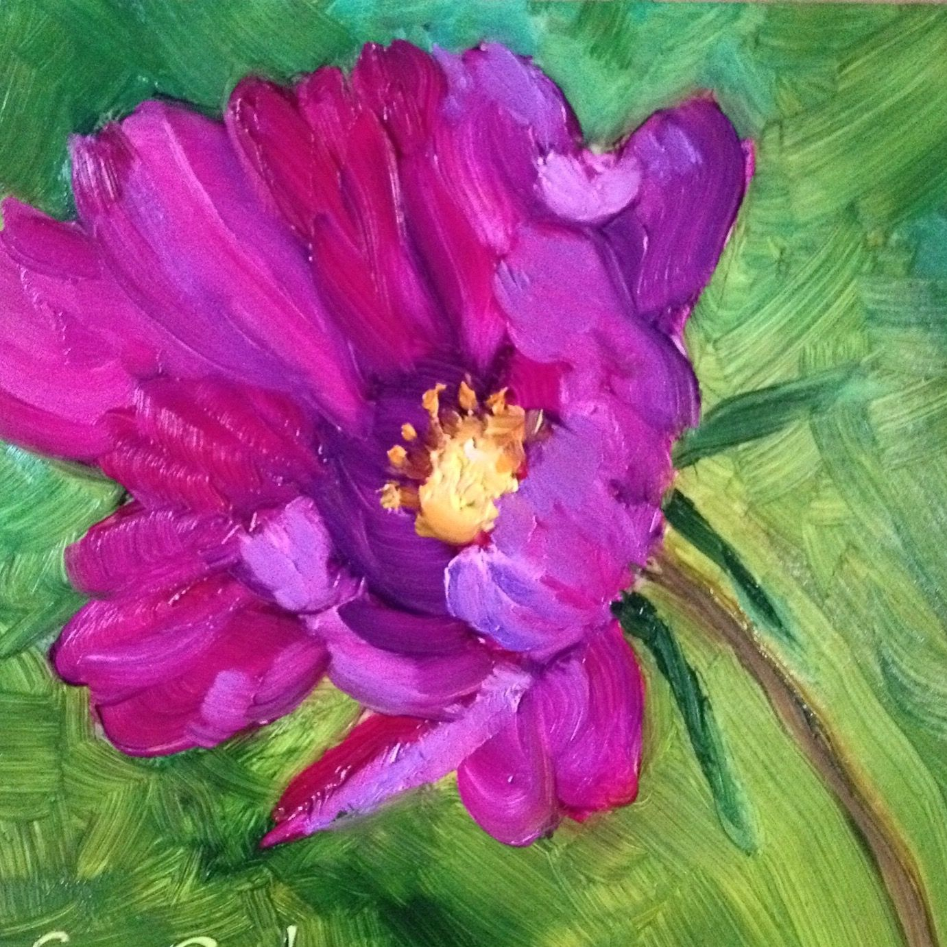 Five inch square oil painting of a cosmos flower oil painting art