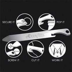 Exuvius Titanium Multi-tool Collar Stays ~ bottle openers, screw drivers, thread cutting edge and more...
