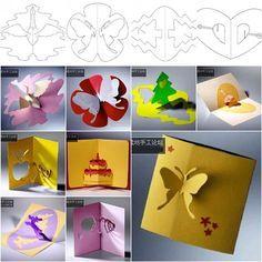 Cómo DIY 3D kirigami Tarjetas de felicitación con plantillas
