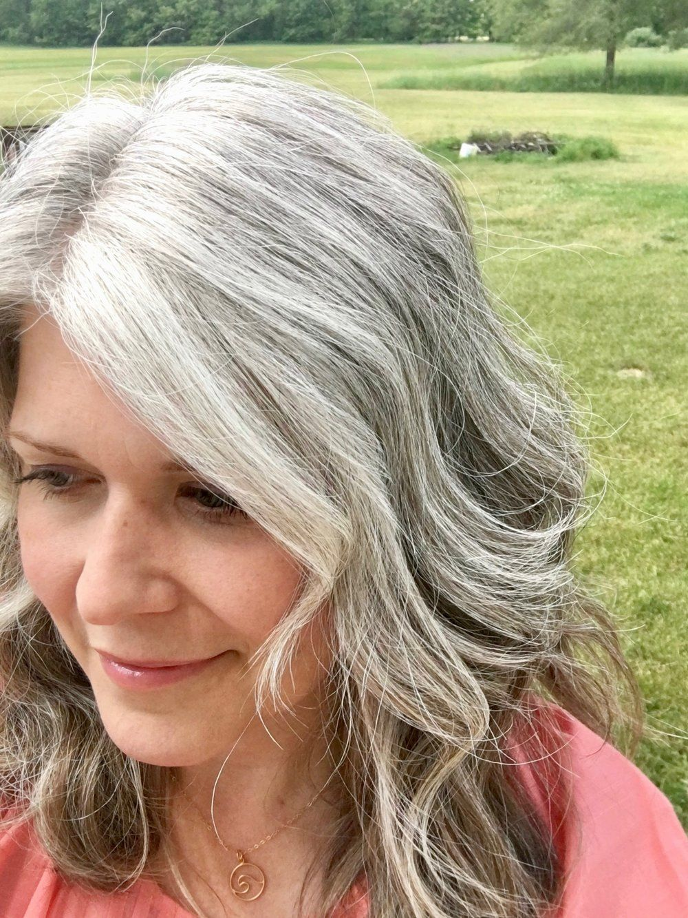 Going Gray and Growing Out My Hair. Blog — JustJaynes - Hand Stamped  Jewelry - White Hair bdae0930c