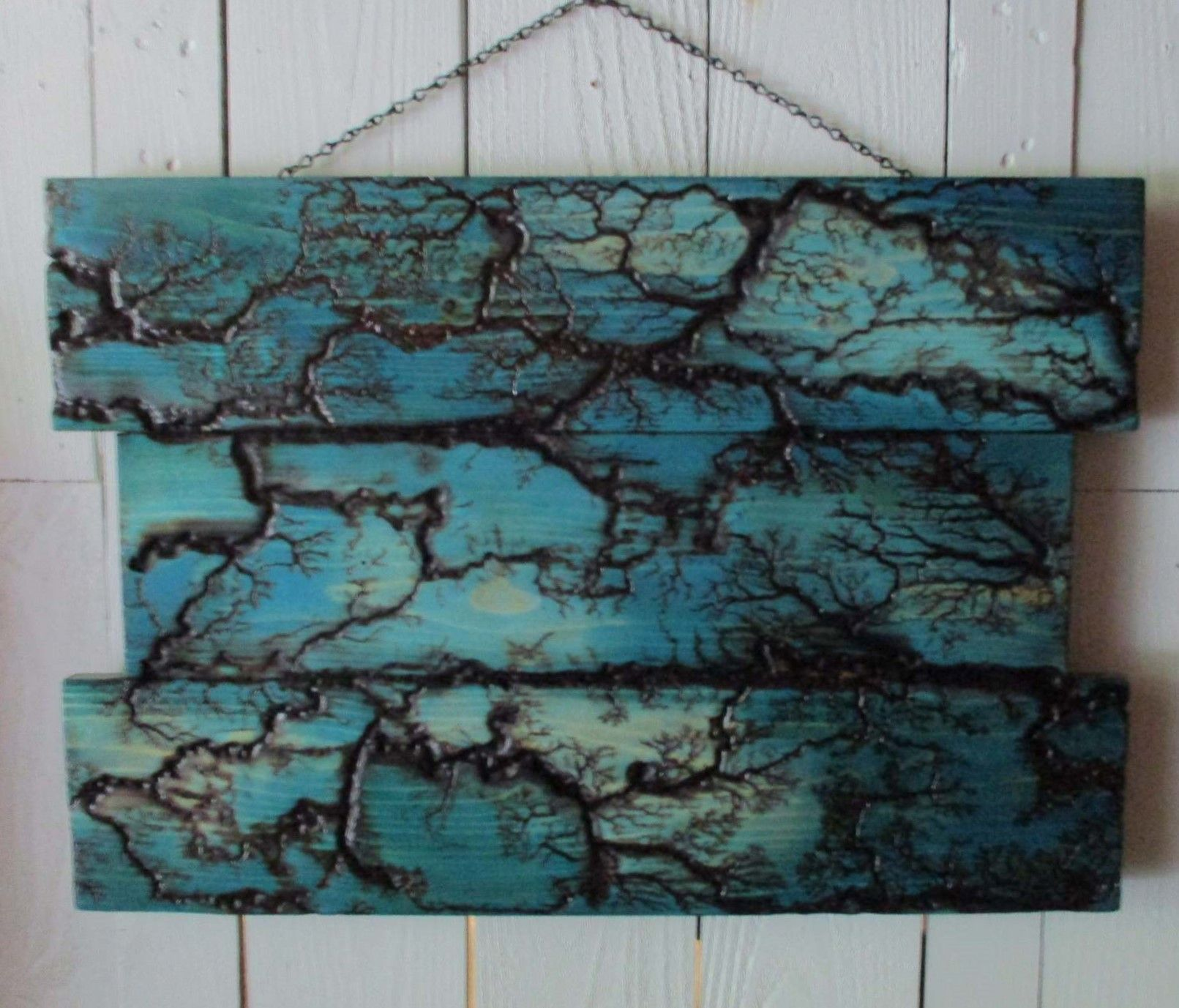 Electrified painted wood blue maze lichtenberg art fractal wood