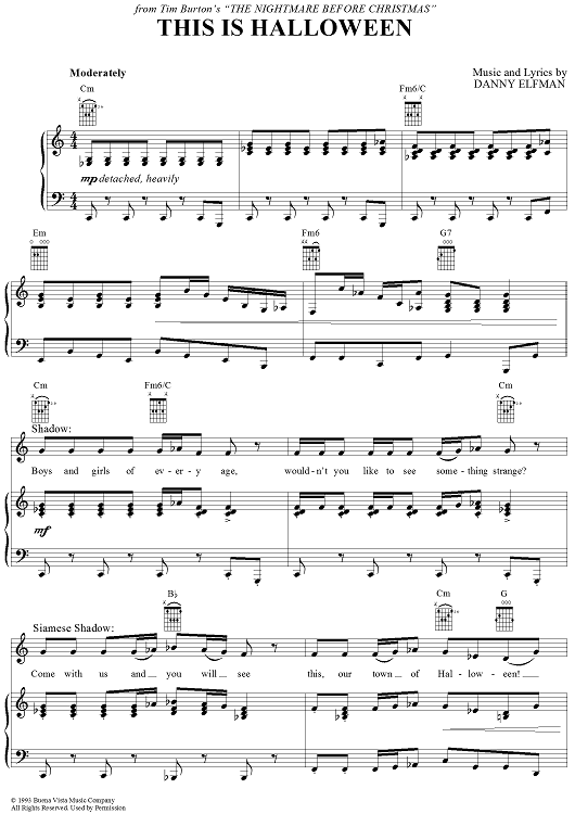 this is halloween sheet music by danny elfman