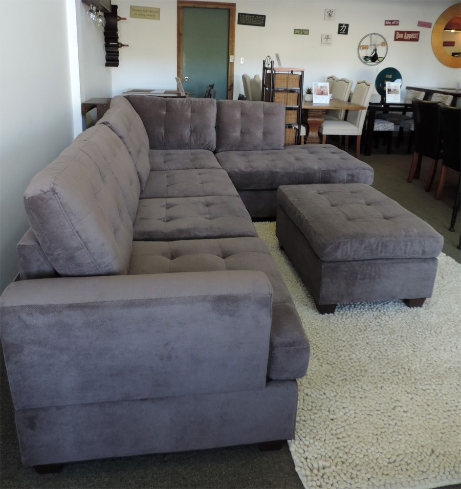 Burbank Charcoal Grey Waffle Suede Sectional Sofa With Left Facing Chaise  By Urban Cali At GoWFB