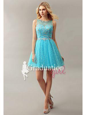 Girls Blue Cute Tulle Short A-Line Sweetheart Graduation Dress - US$105.29 - Style G0851 - Graduation Girl