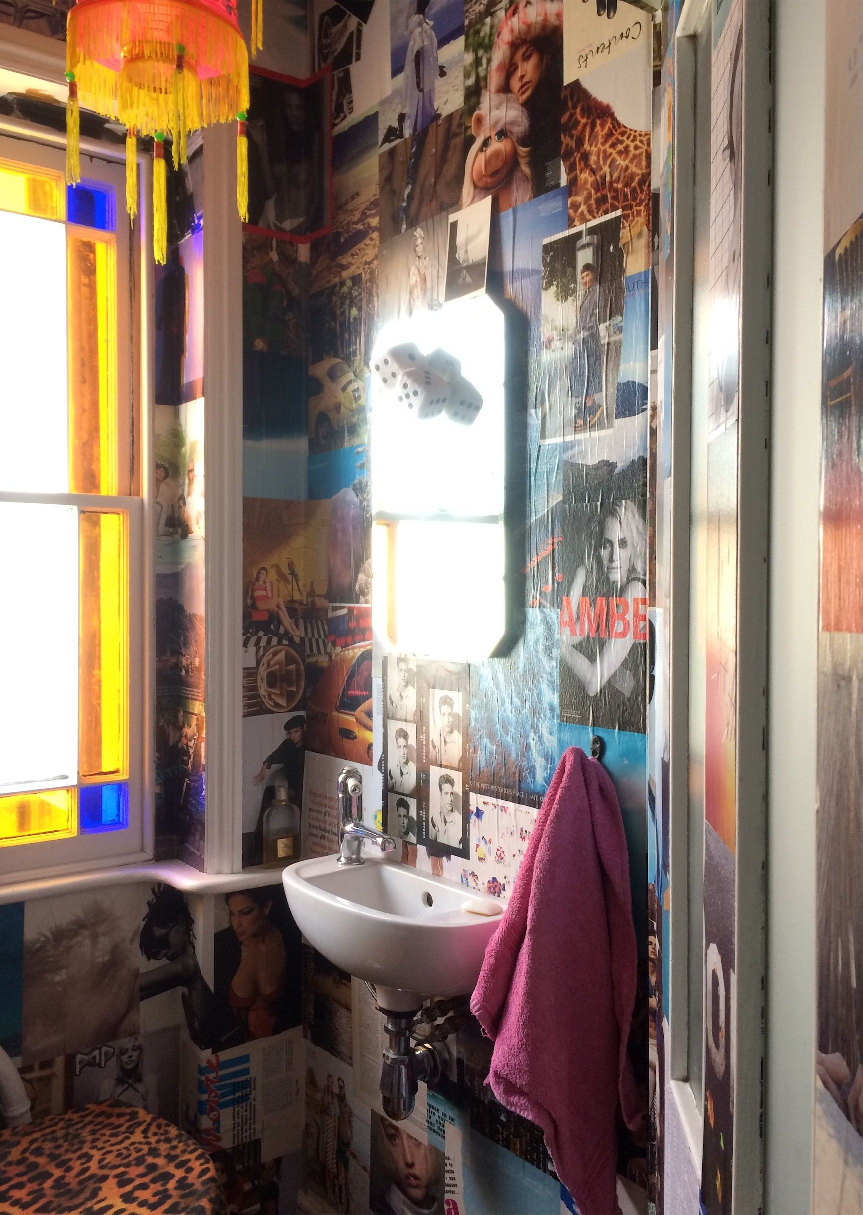Decoupage Powder Room In Nineteenth Century Townhouse, Stained Glass, Leopard Print