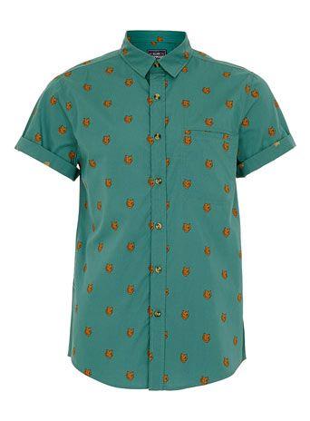 GREEN BEAR PRINT SHORT SLEEVE SHIRT - Mens Shirts - Clothing ...