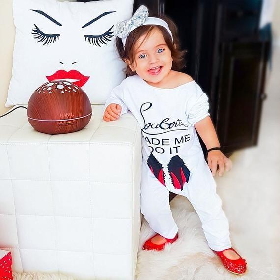 d2330b5d045e Louboutin made me do it baby kid boy girl cute trendy white onesie ...