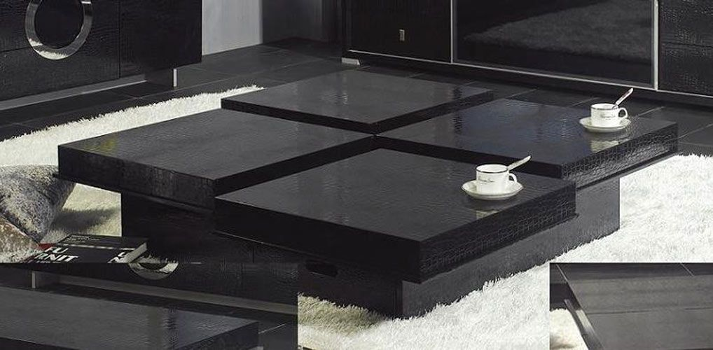 click to enlarge the view of: modern crocodile black coffee table