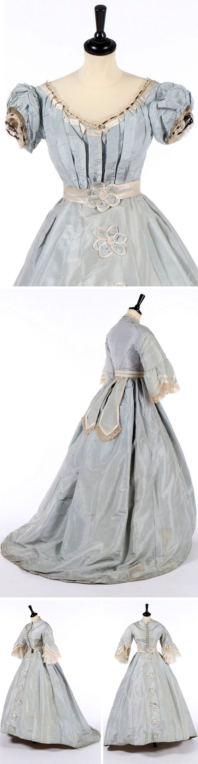 Dress With Day Evening Bodices Ca 1868 Pale Blue Silk Evening Bodice Top Photo With Puffed Sleeves Trimm Fashion Historical Dresses Victorian Fashion [ 2889 x 750 Pixel ]