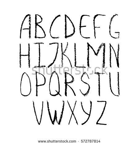 pencil or charcoal chalk alphabet letter set.Vector isolated letters.