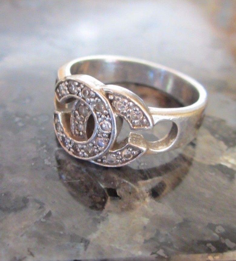 Vintage Chanel Cc Logo Sterling Silver Marcasite Rhinestone Ring