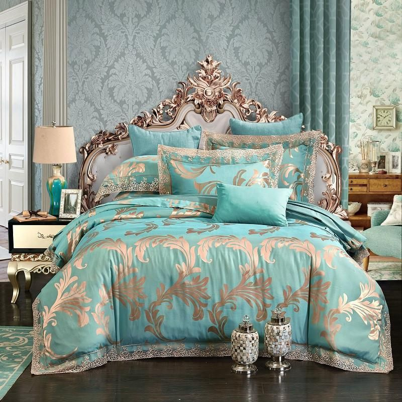 Queen King Size Luxury Jacquard Lace Bedding Set Blue Silver Green Cotton Bed Cover Duvet Cover Bed Sheet Set Pil Bed Linens Luxury Luxury Bedding Bedding Sets