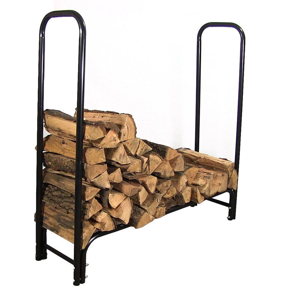 firewood Log Rack. This log rack is 4 feet tall, just over 4 feet or 8 feet long and 13 and a half inches deep. Durable tubular steel construction. Black powder coated finish. One Year Manufacturer's Warranty.