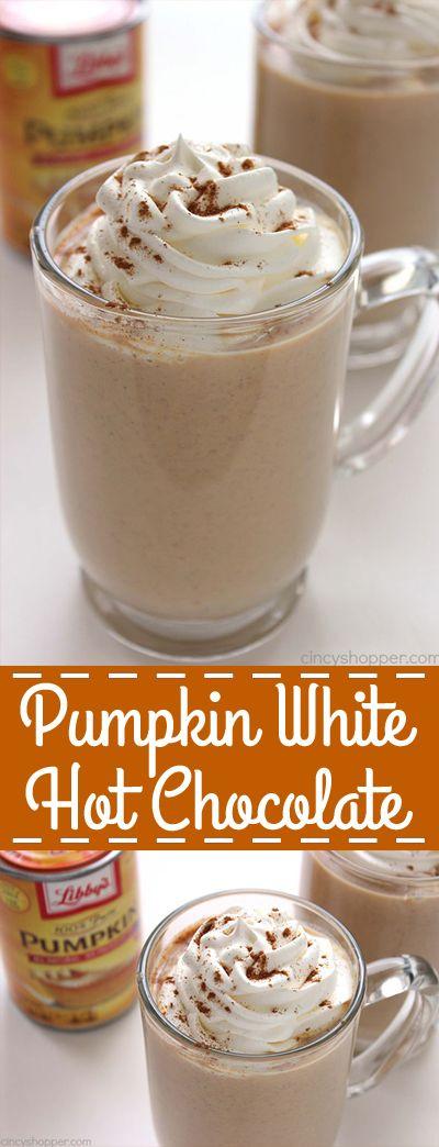 Pumpkin White Hot Chocolate #falldrinks