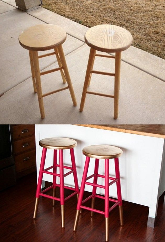 Gold Dipped Bar Stools Nightstands Painted Stools And