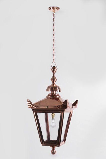 copper victorian style chain hanging lantern garden porch lighting