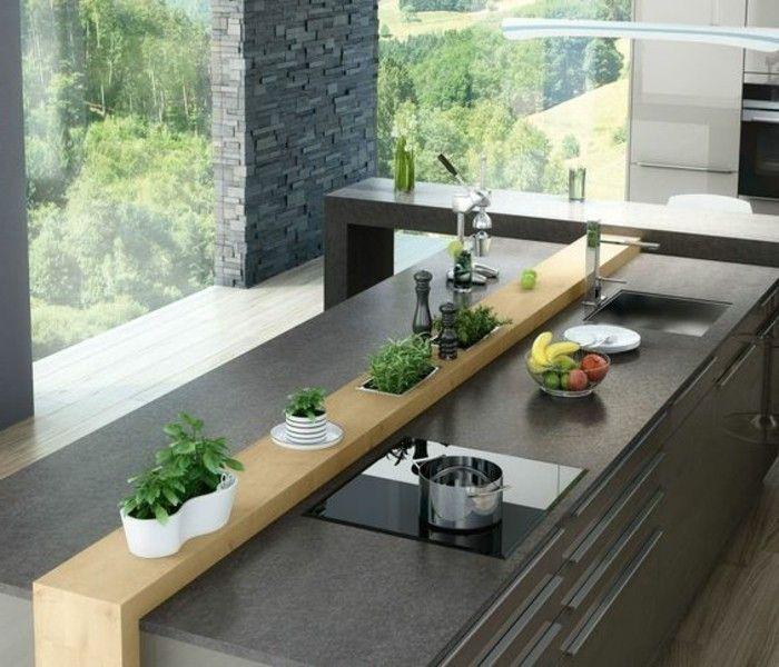 Küchen Insel 5 kreative wohnideen grauer kücheninsel fenster grüne pflanzen