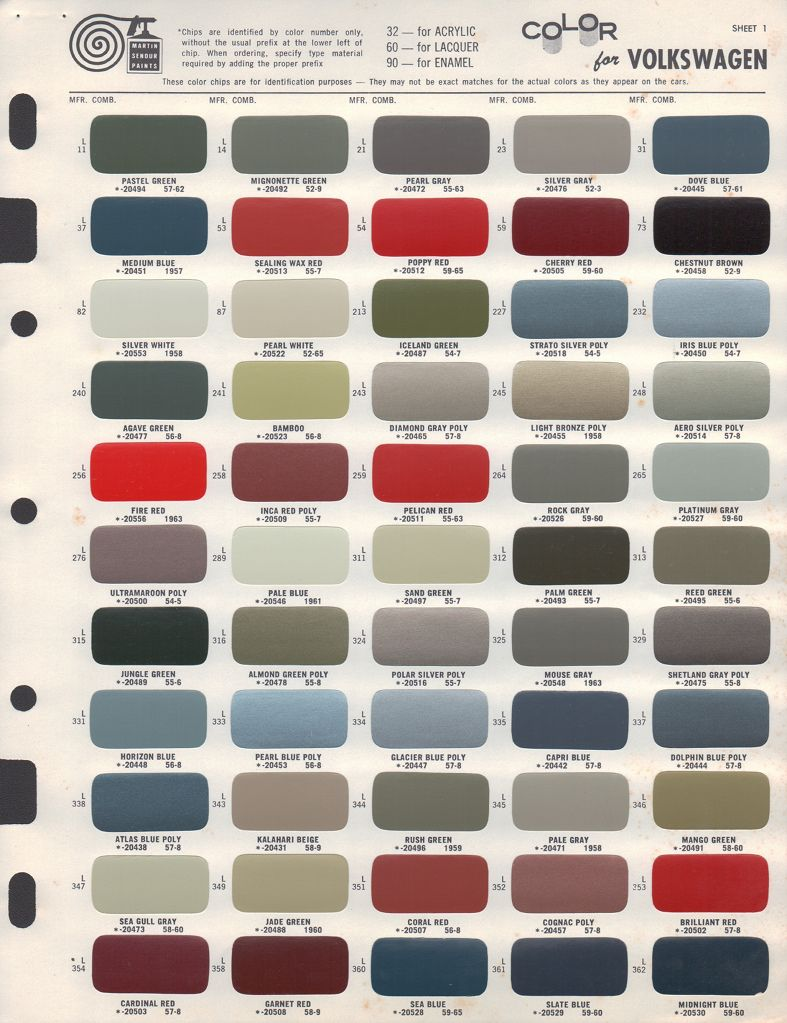 paint chips 1956 volkswagen beetle [ 787 x 1023 Pixel ]