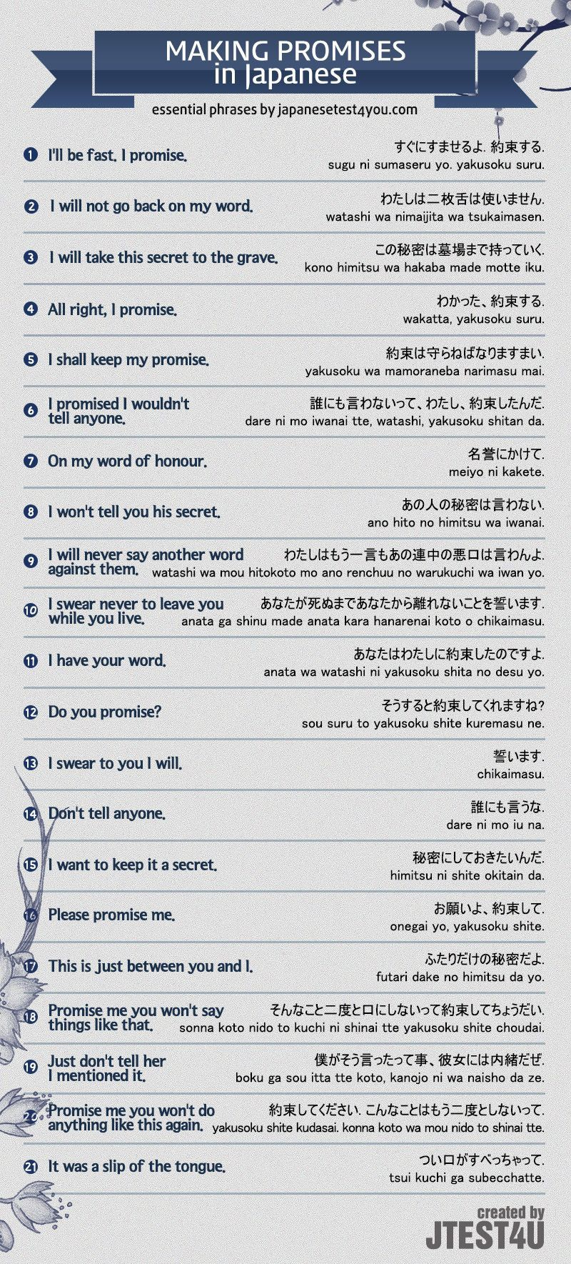 infographic how to make promises in japanese httpjapanesetest4youcom