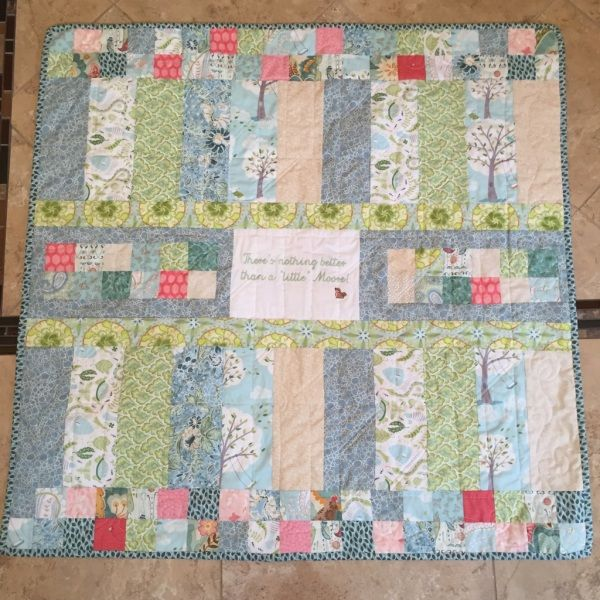 One of my favorite, simple baby quilts.  Love the colors