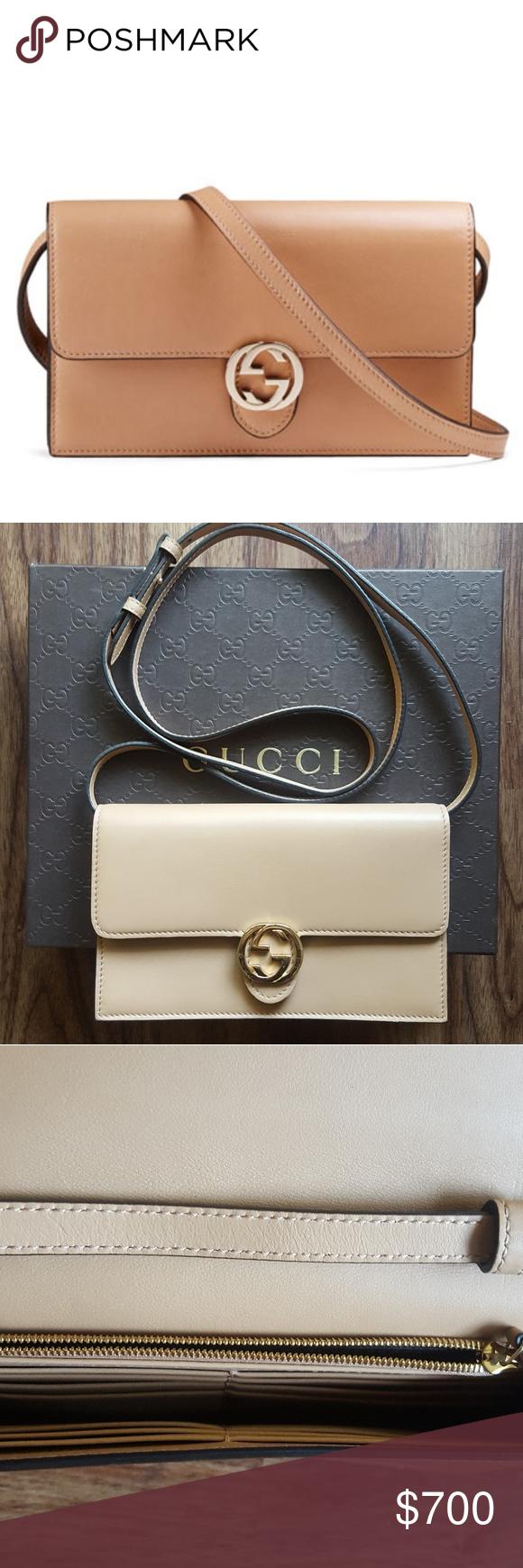 bd7e4d651e2 Gucci Icon Leather Wallet with Strap - Authentic Gucci leather wallet with  interlocking