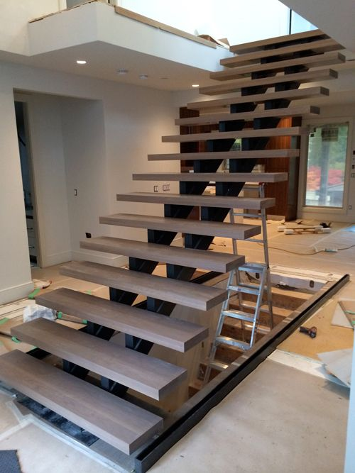 Open Riser Double Steel Stringer Floating Custom Wood Oak Treads Stairs House Stairs Open Stairs