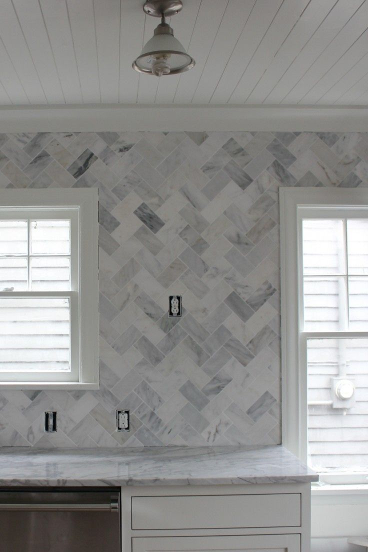 Ocean White Backsplash 3x6 Set In Herringbone I N S I D