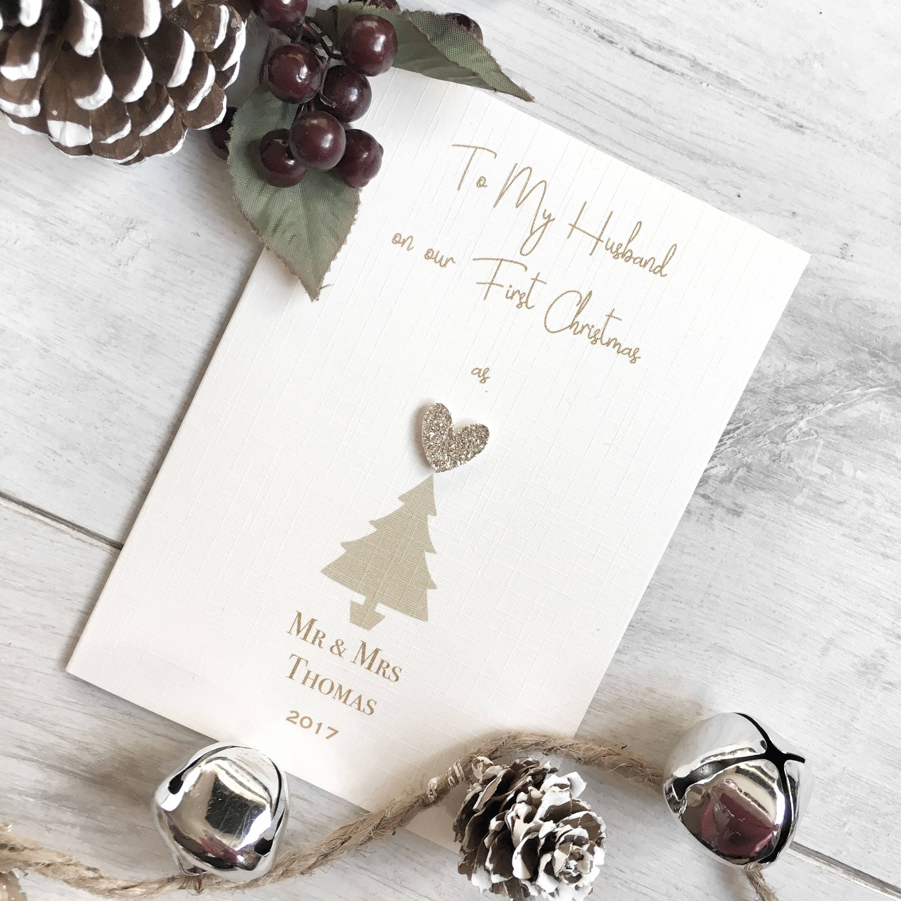Personalised First Christmas Card, First Christmas Card, Husband\'s ...