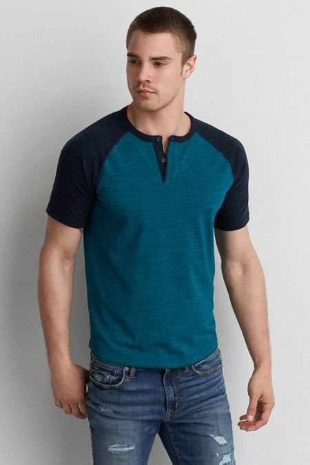 American Eagle Outfitters AEO Flex Henley T-Shirt  c0659acb81c