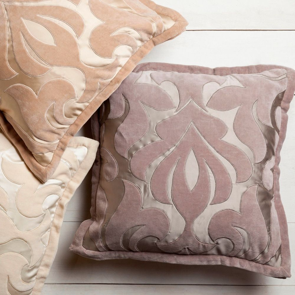 Decorative 22inch damask pillow down taupe gray