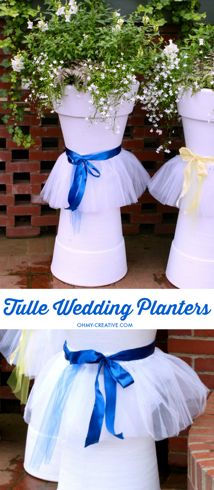 How adorable are these Tulle DIY Wedding Flower Pots for Weddings, Bridal Showers or other Spring or Summer events! Easy to make with white painted flower pots, ribbon and tulle! A great tulle tutu planter! | OHMY-CREATIVE.COM #OMHGWW