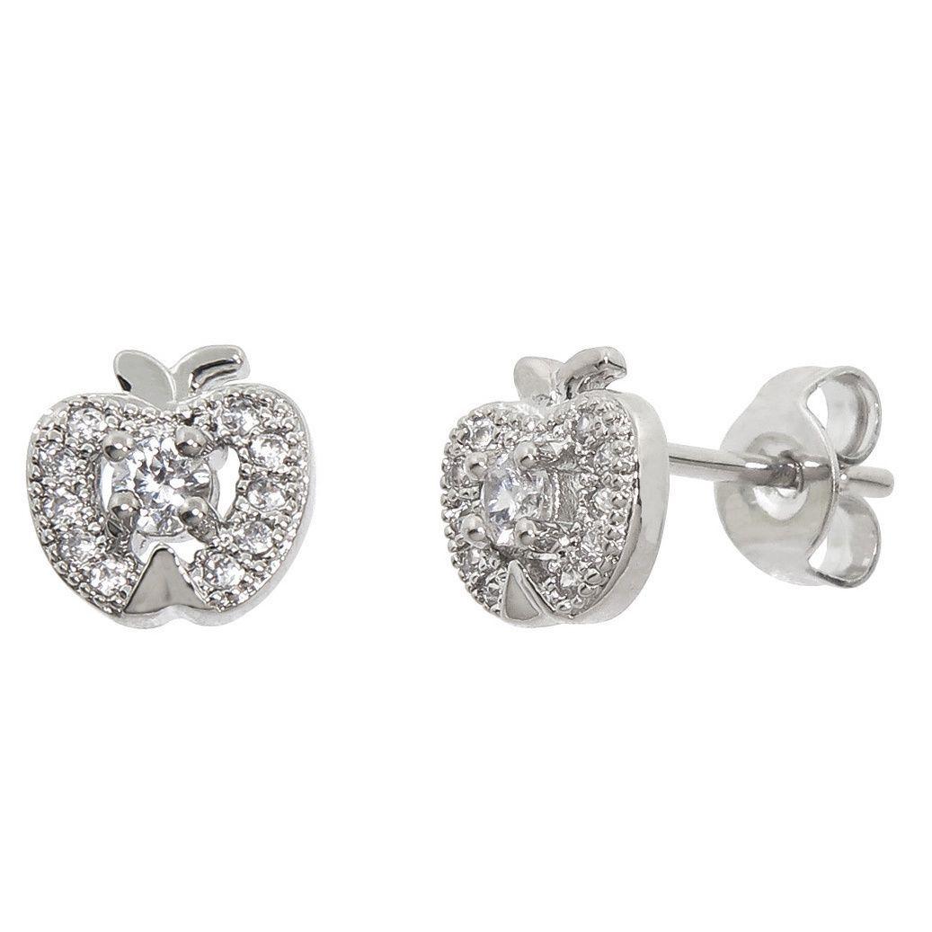 Eternally Haute Pave Brass Cubic Zirconia Apple Earrings