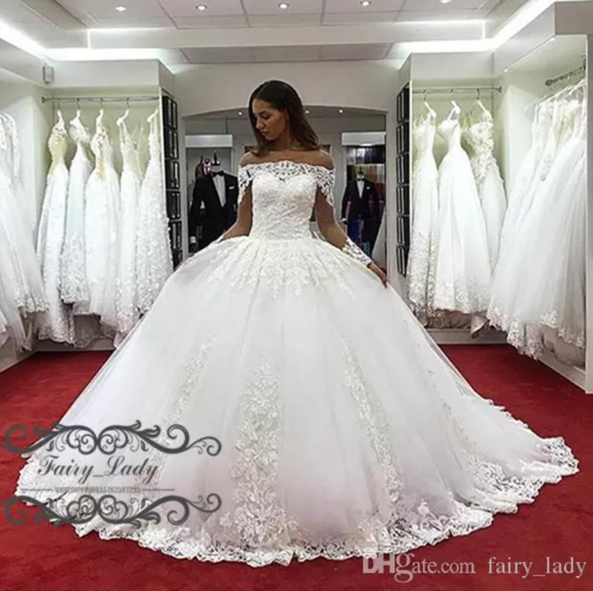 9390d9cc8ffd1 Gorgeous 2018 Off Shoulder Country Bridal Wedding Dresses With Long Sleeves  Sheer Lace Appliques White Puffy Ball Gown For Women Court Train