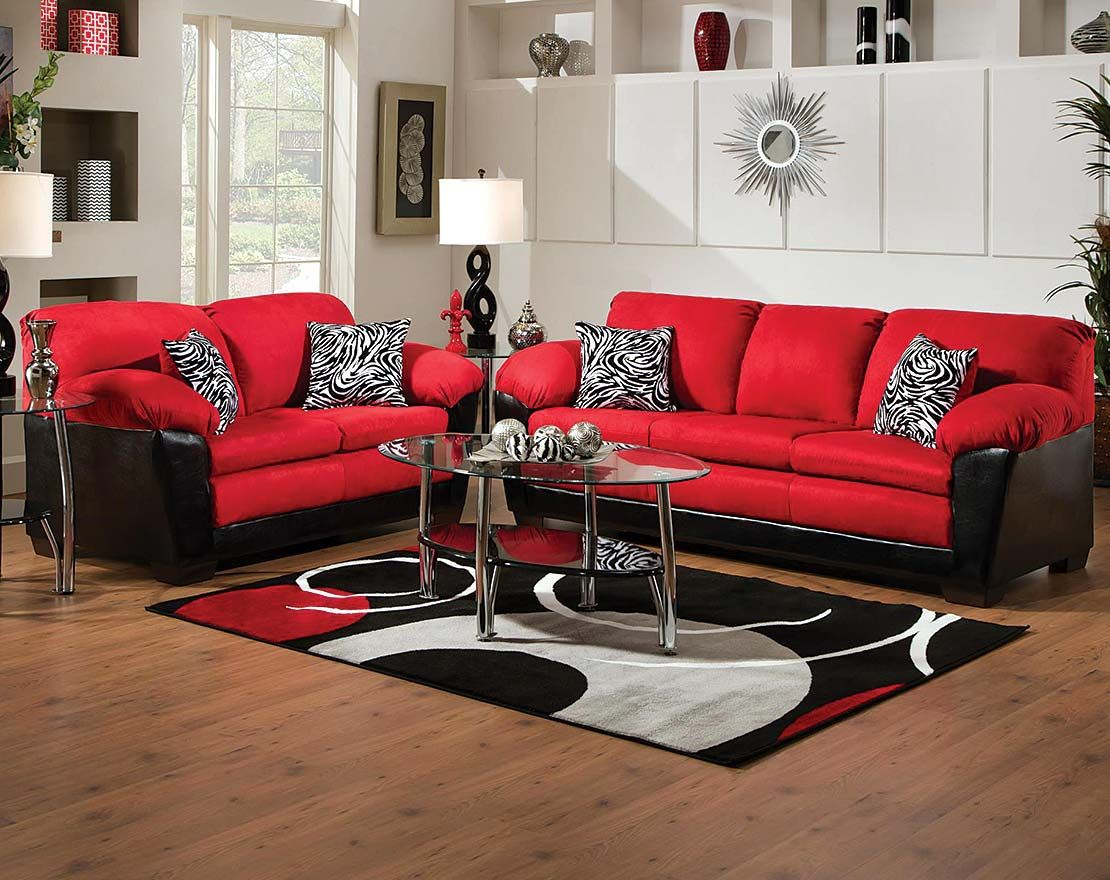 The Implosion Red Sofa And Loveseat Set Is In Your Face Bold Bright Cushions With Black Fabric A Knockout Piece