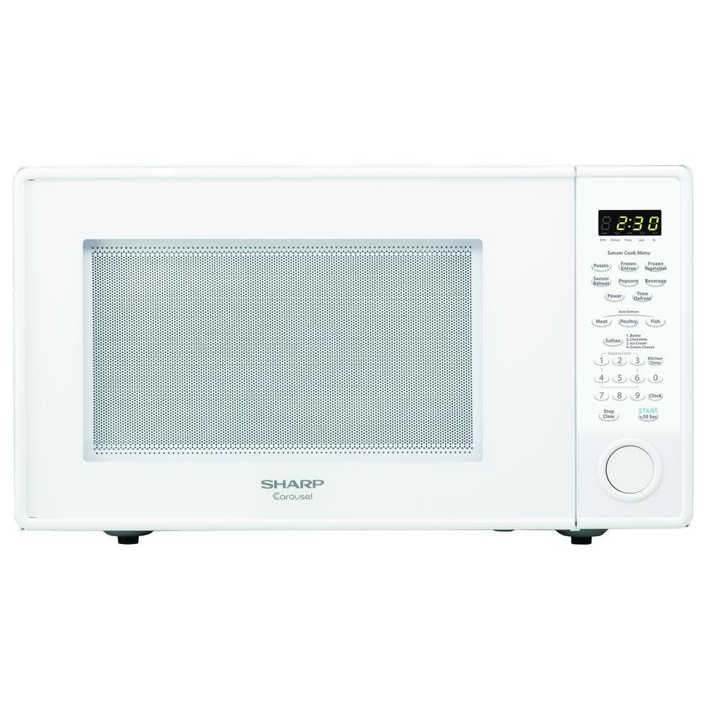 Sharp Carousel 1.8 cu. ft. 1100-Watt Countertop Microwave in White with Sensor Cooking