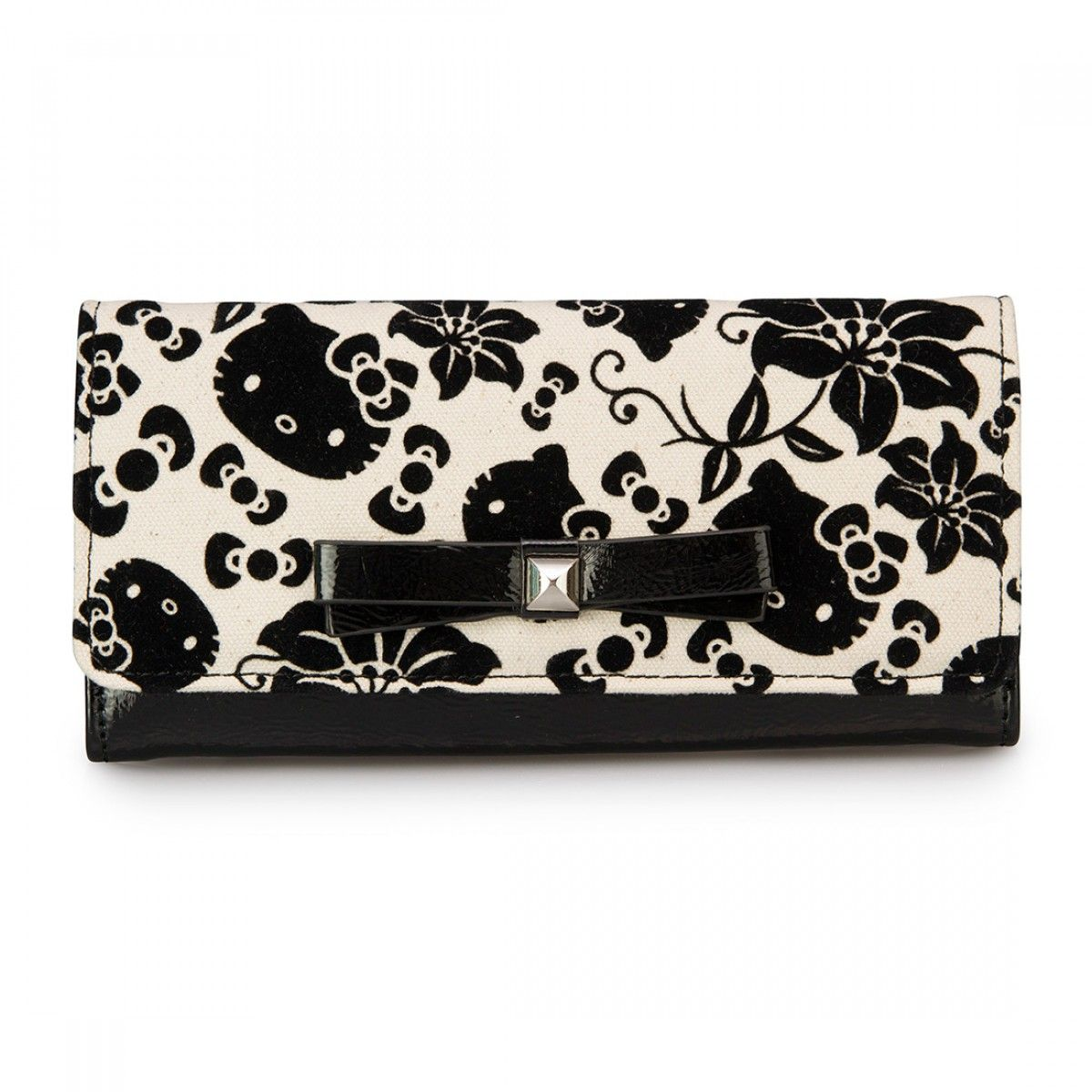 Hello Kitty Black/Cream Floral Wallet - Wallets