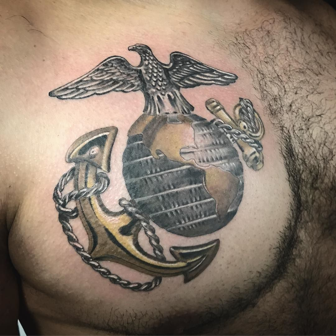 USMC Chest Tattoo. Gold Metal Looking #usmc #tattoo